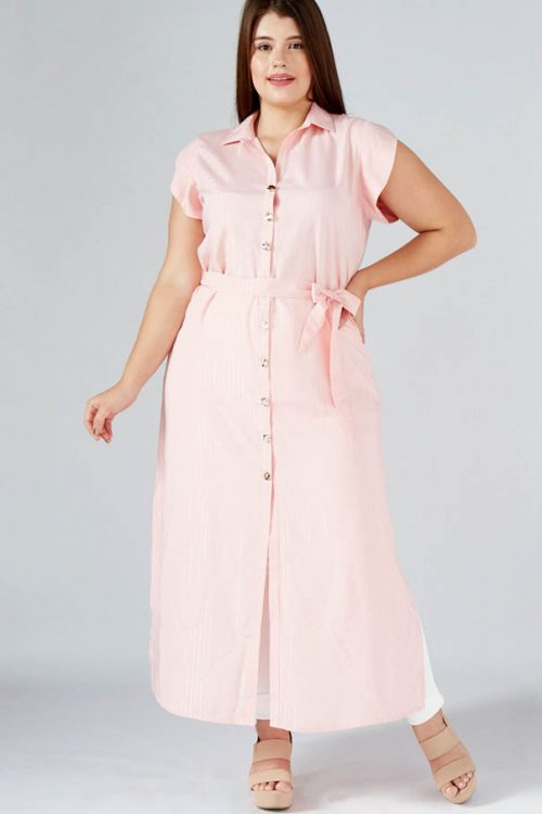 Maxi Vestido Talla Plus Camisero Manga Corta rosa