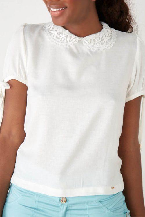 Blusa para Dama Manga Corta Cuello Tejido