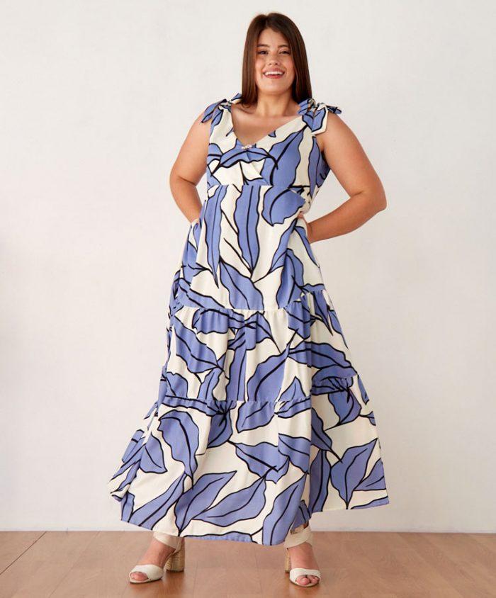 Maxi Vestido Talla Plus Estampado en Chalis