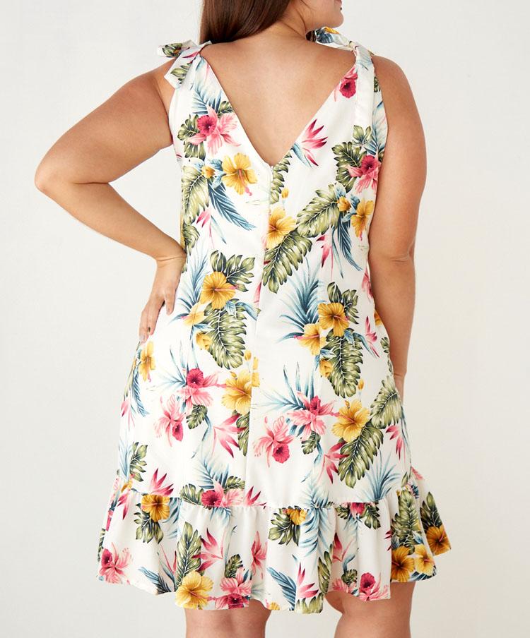 Vestido Corto Talla Grande Estampado Flores