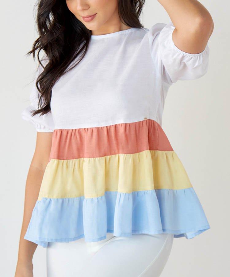 Blusa Bloques de Color en Lino