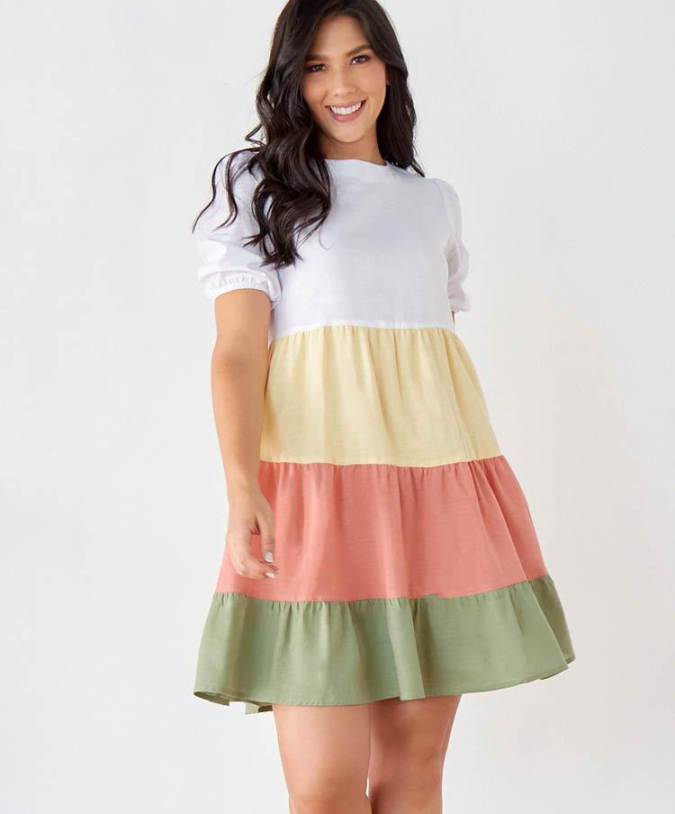 Vestido Corto Bloques de Color en Lino