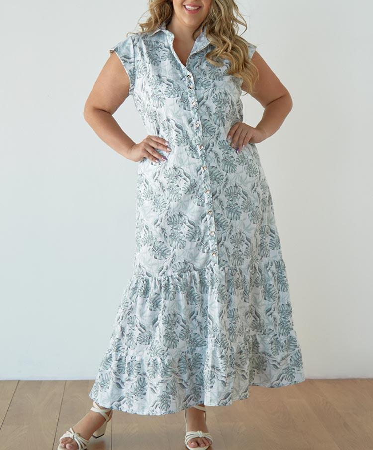 Maxi Vestido Talla Plus Estampado con Bolsillos
