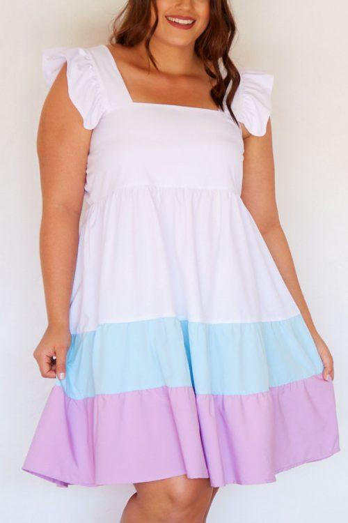 Vestido Talla Plus en Bloques de Color
