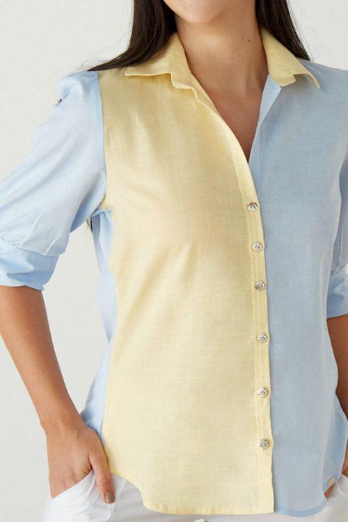 Blusa Camisera en Lino con Bloques de Color