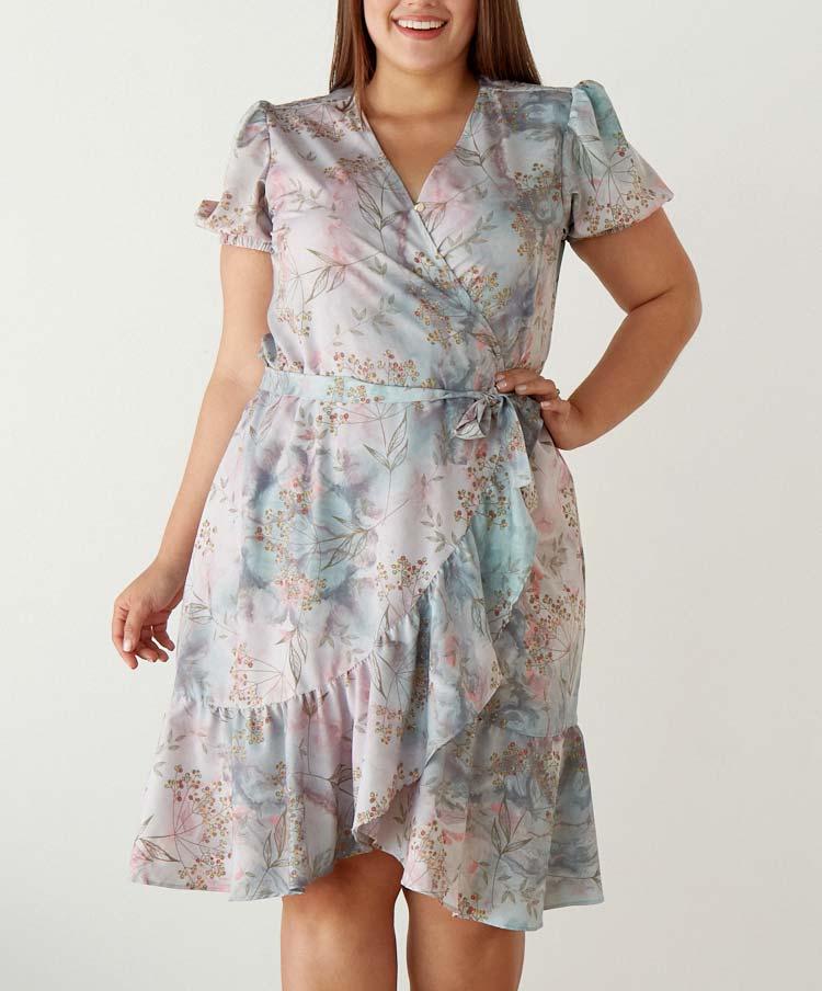 Vestido Talla Plus Envolvente Estampación Floral