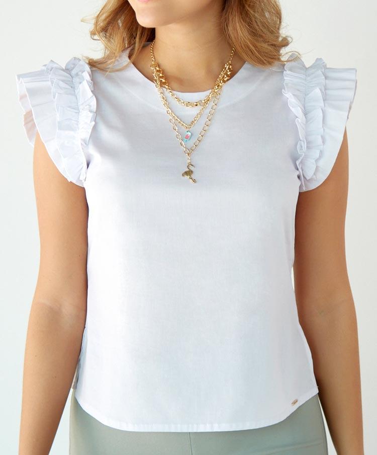 Blusa Manga Sisa con Ruche y Collar
